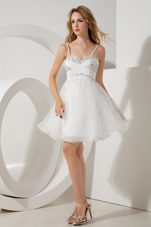 Spaghetti Straps Beaded White Holiday Homecoming Dresses Tulle