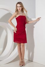 Wine Red Column Mini-length Prom Holiday Dresses Strapless