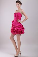 Hot Pink A-line Prom Holiday Dresses Ruched Strapless Taffeta