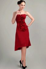 Asymmetrical Prom Holiday Dresses Wine Red Column Strapless