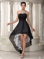 High-low Chiffon and Lace Little Black Dresses Ruched