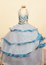Unique Halter Dotted Tulle Tiered Girl Pageant Gown