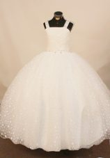 Exquisite Strap Polka Dot Tulle Girl Pageant Gown