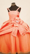 Amazing Beaded Bodice Pleated Midriff Junior Pageant Dress with Bow
