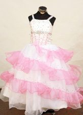 Iridescent Strap Two Tone Ruffled Layers Junior Pageant Gown