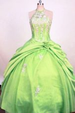 Halter Fashionable Spring Green Gown Pick-ups Little Girl Pageant Dress