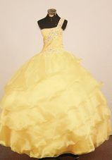 One Shoulder Little Girl Pagenat Dress Yellow Layer Beading