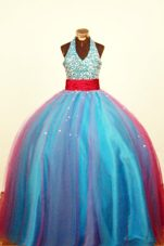 Halter V-neck Colorful Sash and Beading Ball Gown Little Girl Dress