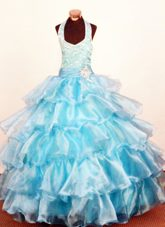 Modest Layer Halter Little Girls Pageant Dresses Tulle Beading