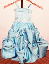 Spaghetti Beading Pick-ups Flower Girl Dress Appiliques 2013