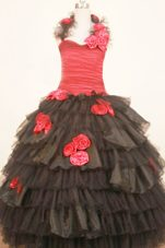 Coral and Black Hand Made Flowers Halter Ruched Pageant Dress