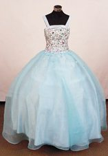 Beading Ball Gown Rhinestone Little Girl Pageant Dresses Square Neck