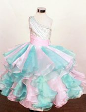 Multi-color Little Girl Party Dresses One Shoulder Beading 2013