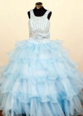 Light Blue Ruffled Layeres Little Girl Pageant Dresses with Beading