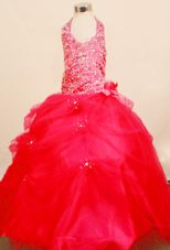 Red Ball Gown Beading Little Girl Pageant Dresses with Halter Top