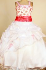 White and Red Little Girl Pageant Dresses Ball Gown Pick-ups