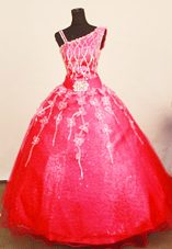 2013 Little Girl Pageant Dresses Asymmetrical Neck Applqiues Red