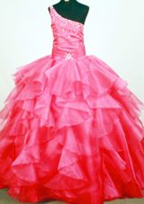 Beading One Shoulder Ruffled Layers Little Girl Pageant Dresses