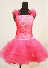 Straps Mini-length Pink Organza Beading Little Girl Dresses
