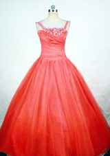 Strap Ball Gown Little Girl Dresses With Beading Red
