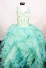 Ruffles V-neck Organza Little Girl Pageant Dresses Multi-color