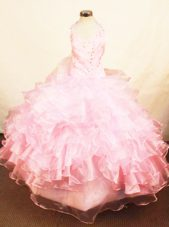 Halter Top Baby Pink Organza Beading Little Girl Pageant Dresses