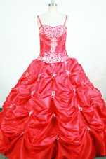 Pick-ups Straps Floor-length Red Appliques Little Girl Pageant Dresses