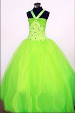 Ball Gown Halter Spring Green Beading Little Girl Pageant Dresses