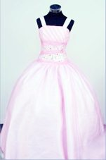 Straps Baby Pink Little Girl Pageant Dresses With Beading