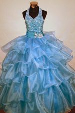 Beading Halter Organza Little Girl Pageant Dresses