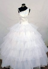 Asymmetrical Beading Little Girl Pageant Dresses White Organza