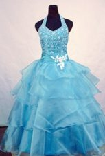 Ball Gown Halter Beading Little Girl Pageant Dresses Orangza