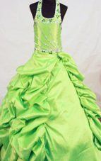 2013 Taffeta Beading Little Girl Pageant Dresses With Halter