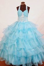 Halter Aqua Blue Organza Appliques Little Girl Pageant Dresses