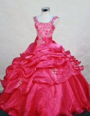 Appliques Straps Hot Pink Pretty Little Girl Pageant Dresses