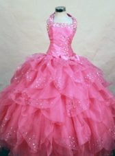 Ruffles Beading Pretty Halter Hot Pink Little Girl Pageant Dresses