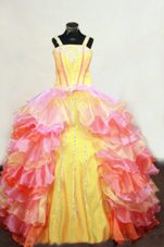 Straps Multi-colored Little Girl Pageant Dresses With Beading