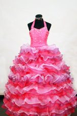 Luxurious Layer Colorful Halter Flower Girl Dress with Beading