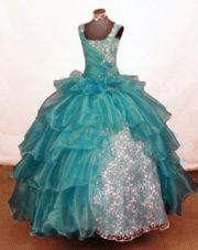 Beautiful Off The Shoulder Blue Beading Flower Girl Dress For 2013