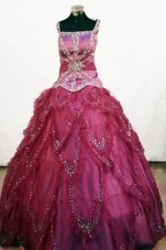 Pretty Beading Square 2013 Little Girl Pageant Dresses Fuchsia