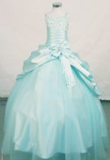 Elegant Straps Blue Little Girl Pageant Dresses With Beading