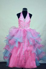 Colorful Beading Halter Pretty Girls Party Dresses For 2013