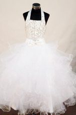 Cute Halter Beading White Little Girl Pageant Dresses