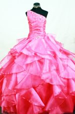 Ruffles One Shoulder Hot Pink Beading Flower Girl Dress