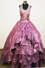 Paillette A-line Halter Fuchsia Beading Little Girl Pageant Dresses