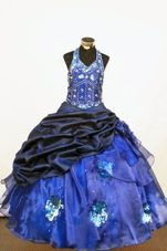 Beautiful Beautiful Halter Blue Flower Girl Dress With Beading