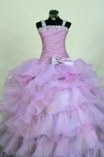 Beading Organza Straps Lavender Little Girl Pageant Dresses