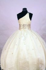 One Shoulder Organza Beading Little Girl Pageant Dresses