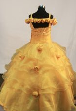 Hand Made Flowers Ball Gown Little Girl Pageant Dress Straps