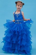 Blue Ball Gown Halter Organza Appliques Flower Girl Dress